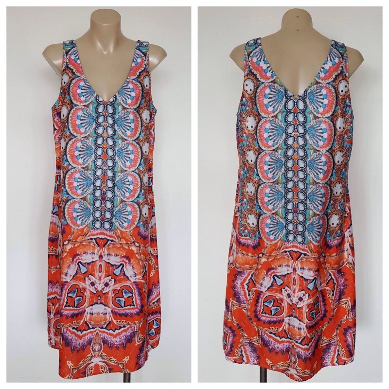 SUZANNE GRAE Ladies Multi Colour Abstract Print Sleeveless Dress Size 10