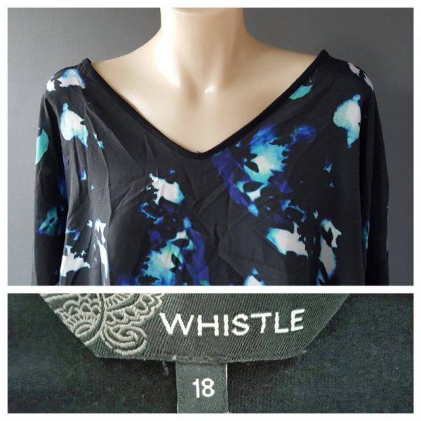 WHISTLE Long Sleeve Blot Print Top Size 18