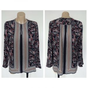 TRENERY Ladies Paisly Print Patterned Long Sleeve Top Size Extra Small XS