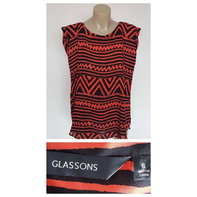 GLASSONS Ladies Black & Orange Zig Zag Print Sleeveless Top Size 8