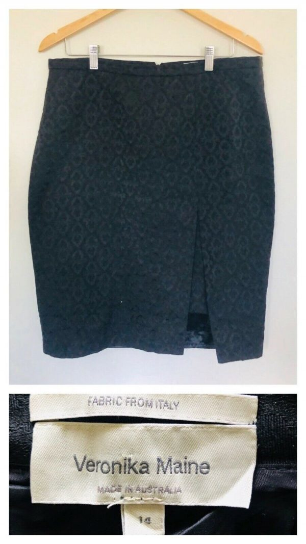 VERONIKA MAINE Womens Black With All Over Pattern Detail Skirt Size 14