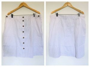W LANE Womens White With Beige Stripe Pattern Button Down Skirt Size 18 BNWT