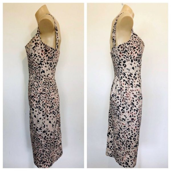 BLACK HALO Womens Beige All Over Print Sleeveless Dress Size 2 US (6 AUS)
