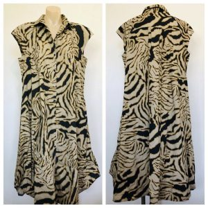 ILLIAM Womens Zebra Print Oversize Full Button Down Sleeveless Dress Size 14