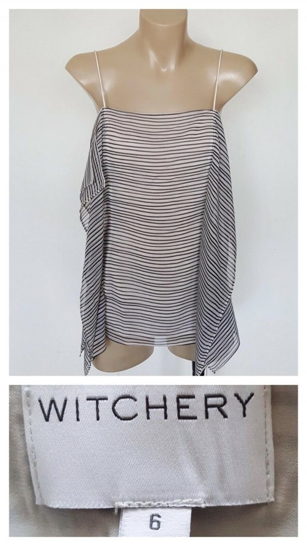 WITCHERY Ladies Black & White Stripe Multi Panel Strap Top Size 6