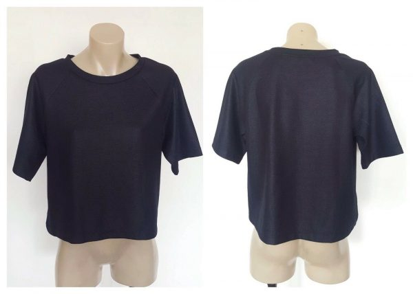 COUNTRY ROAD Ladies Navy Blue Box Fit Short Sleeve Top Size Small S