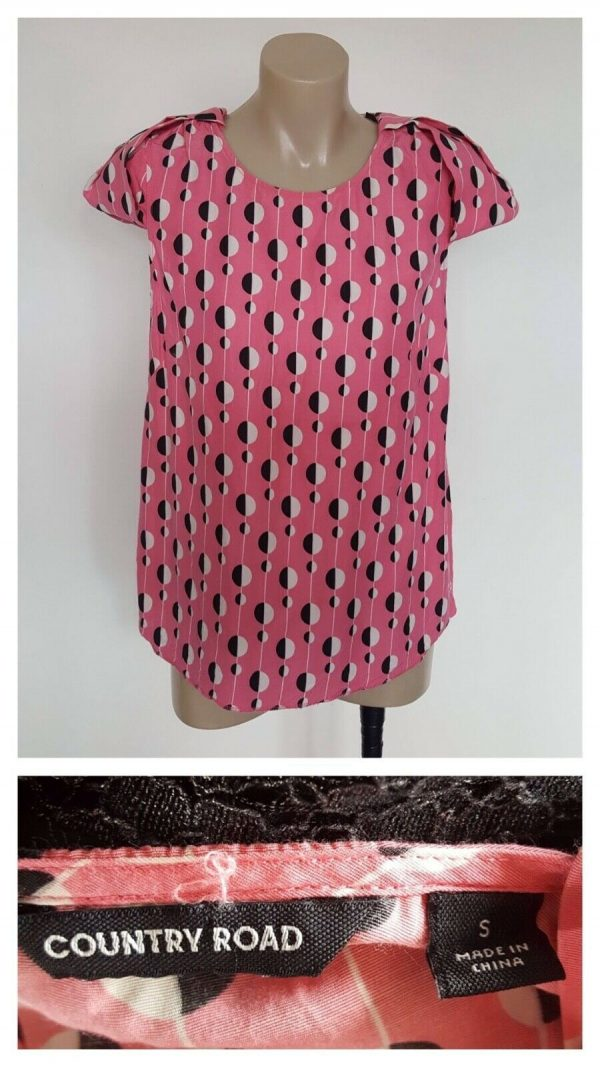 COUNTRY ROAD Ladies Pink With Black & White Circle Print Top Size Small S