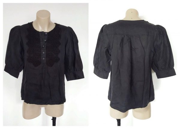 COUNTRY ROAD Ladies Black Lace Detail 3/4 Sleeve Top Size Small S