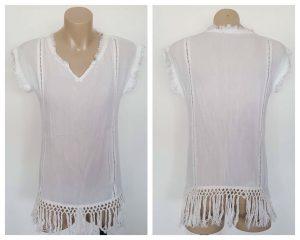 SEED HERITAGE Ladies White Boho Theme Fray & Knot Detail Cap Sleeve Top Size 6