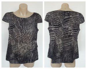 VERONIKA MAINE Ladies Snake Animal Print Capped Sleeve Top Size 10