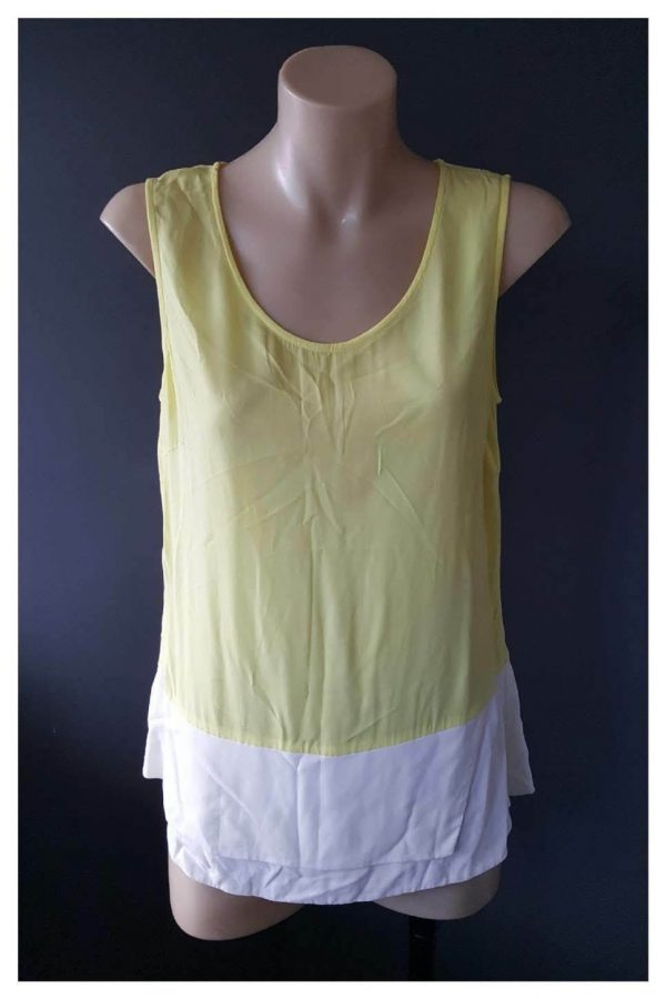 VERONIKA MAINE Fluro Yellow and White Tank Top Size 6