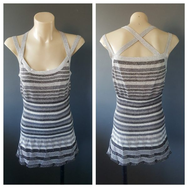 VERONIKA MAINE Womens Monochrome Strappy Top Size Small S