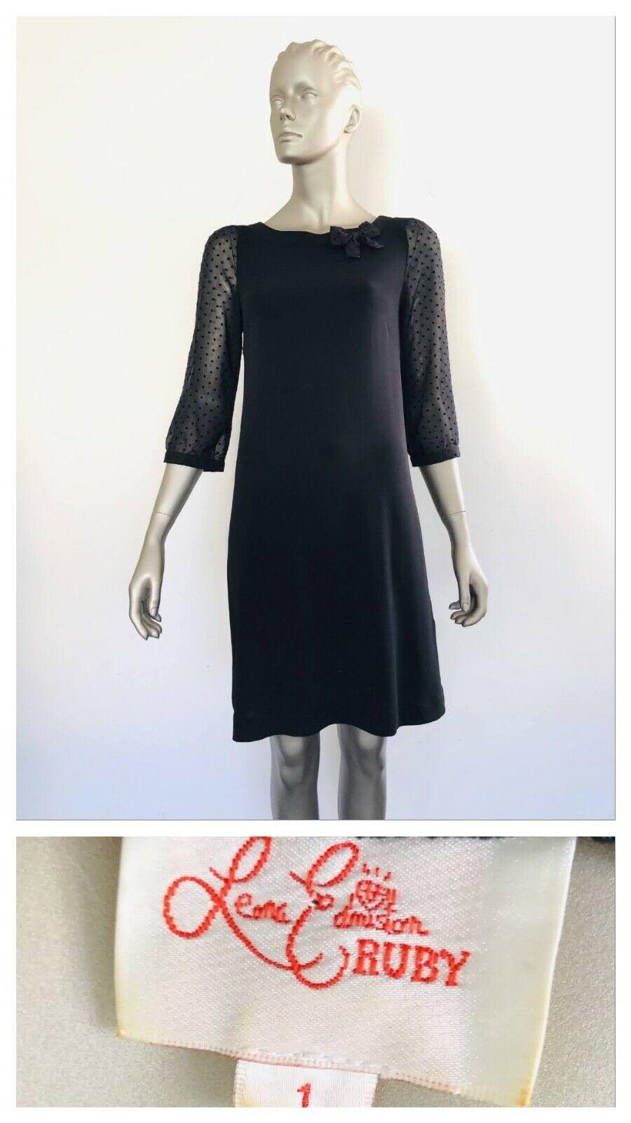 LEONA EDMISTON Black 3/4 Sheer Sleeve Dress Size 1 (10 AUS)