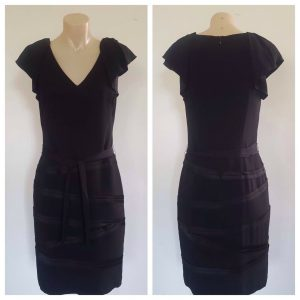 VERONIKA MAINE Womens Black Party Cocktail Ruffle Sleeveless Dress Size 8