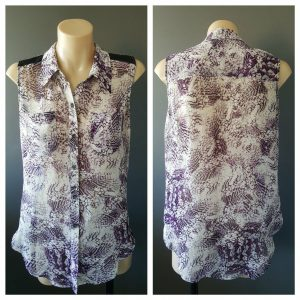 BETTINA LIANO Womens Purple Print Sleeveless Button Down Shirt Top Size 6