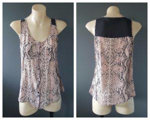 SABA Ladies Coral 100% Silk Button Down Sleeveless Tank Top Size 8