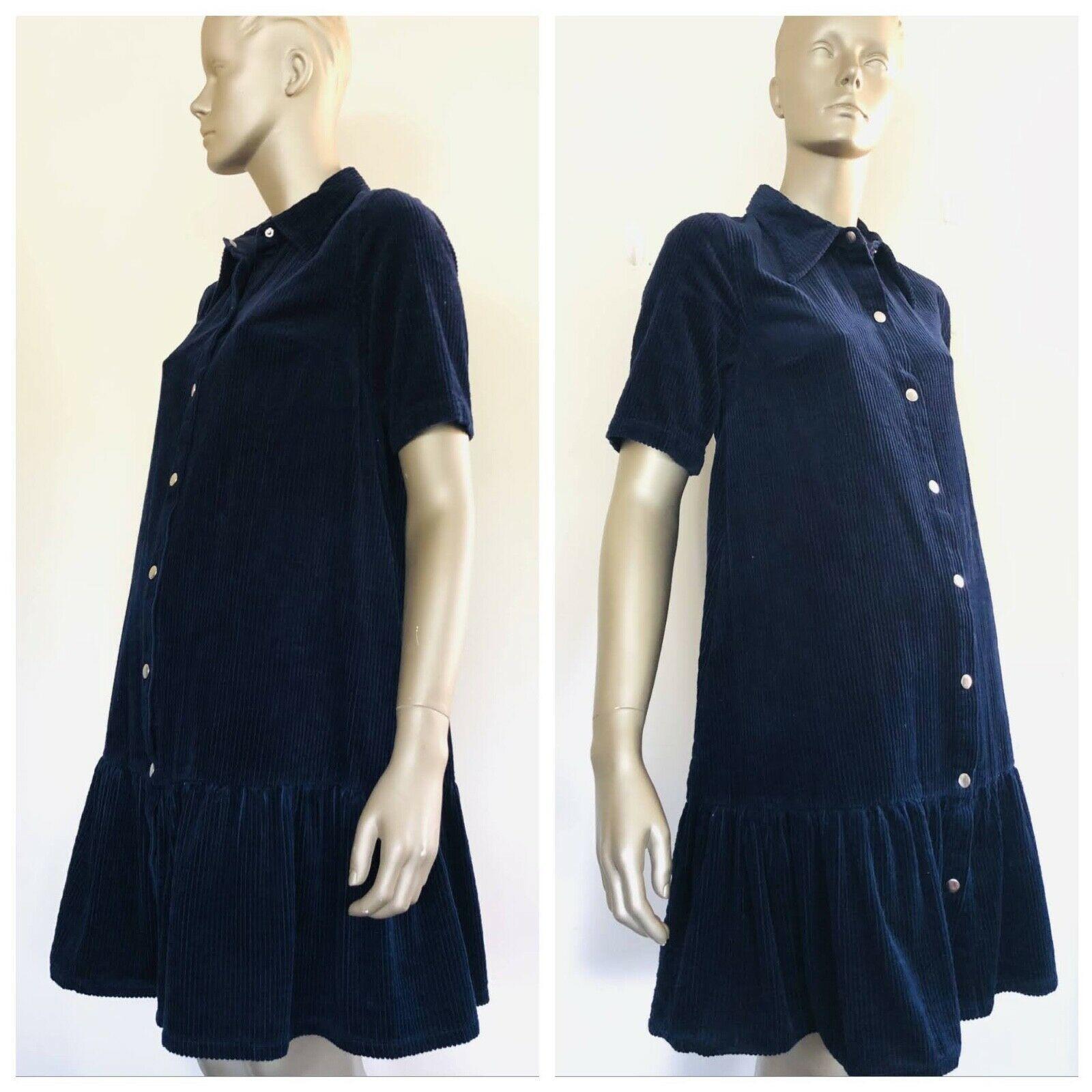 GORMAN Navy Blue Full Button Down Collard Corduroy Dress Size 8