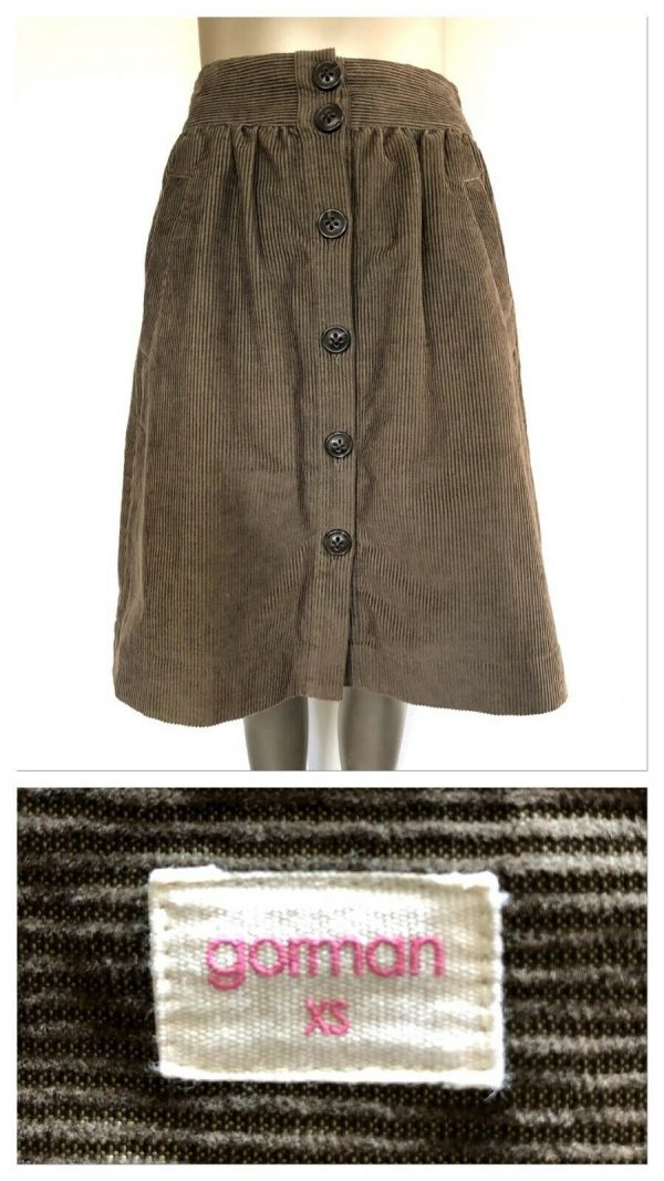 GORMAN Brown Corduroy Full Button Down Skirt Size XS Extra Small