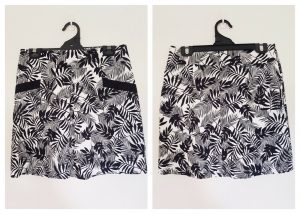 REVIEW Womens Black & White Floral Print Front Single Pleat Skirt Size 10