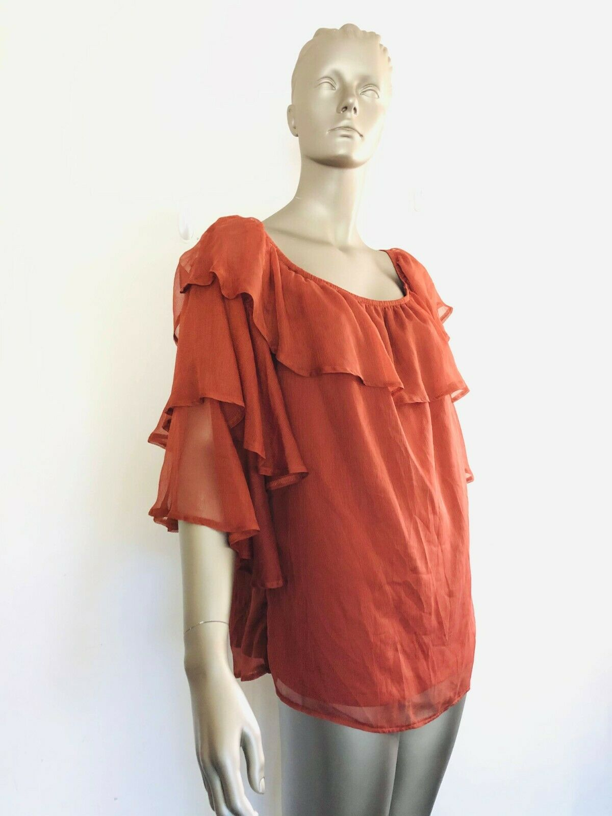CITY CHIC Bloose Fig Colour Boat Neck Seductress Size S Small