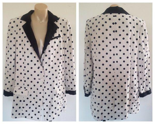 BEC & BRIDGE Womens Creme & Black Polka Dot Linen Jacket Blazer Size 12 BNWT
