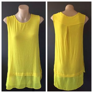 WITCHERY Ladies Fluorescent Yellow Long Sleeveless Top Size Medium M