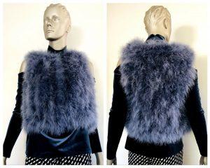 ALANNAH HILL Womens Blue Feather Vest Size Medium M