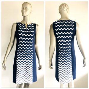 MAGLIA Navy Blue & White Zig-Zag Pattern Dress Size 6