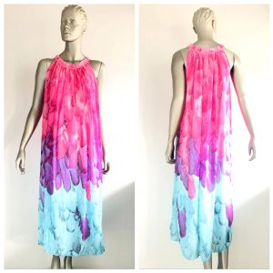 YIYIMEI Feather Print Long Oversized Dress Size Medium M