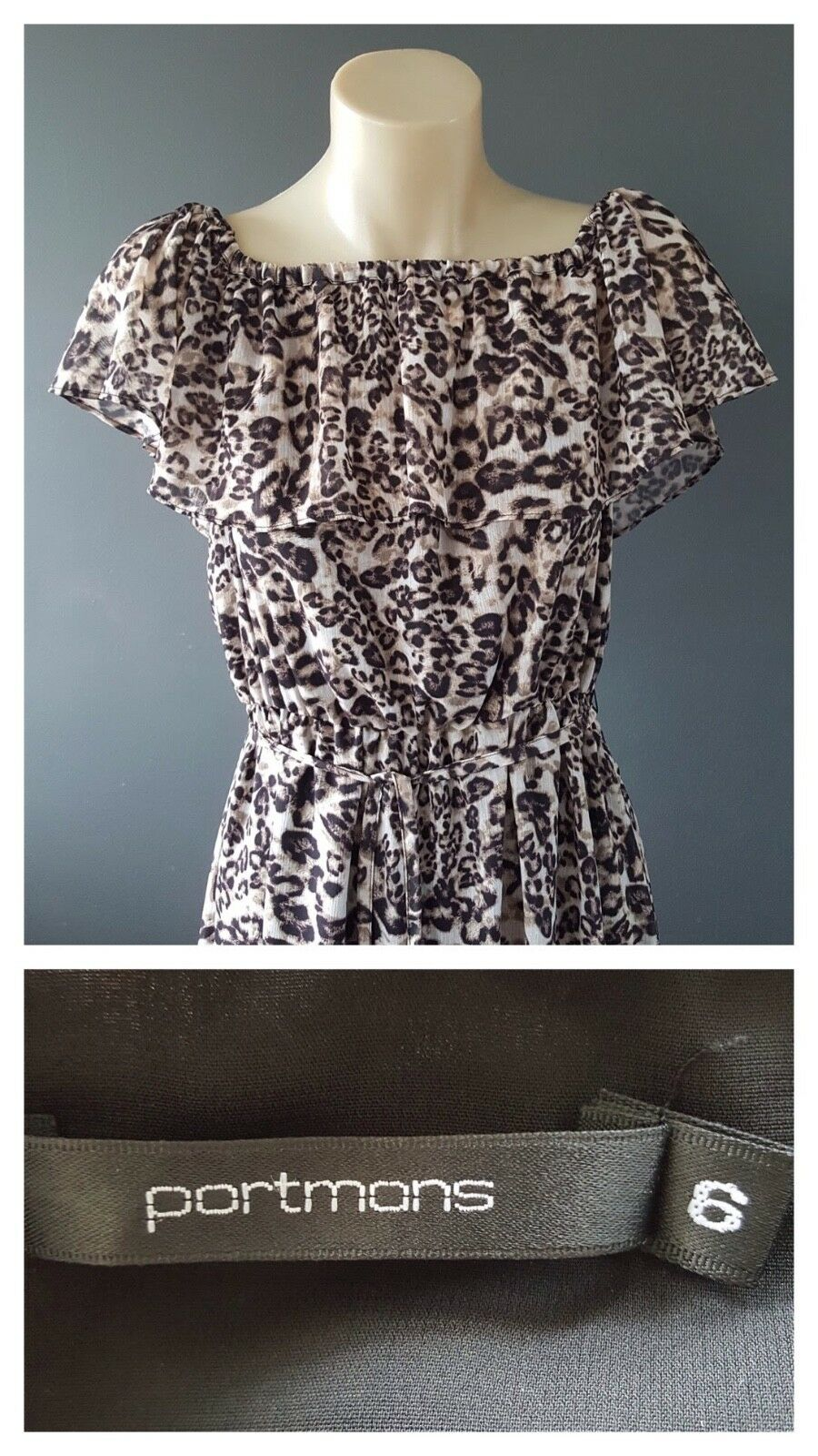 PORTMANS Ladies Leopard Print Sleeveless Ruffle Detail Dress Size 6