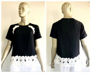 KATE SPADE Womens Black & White Floral Lace Trim Short Sleeve Top Size 6 BNWT