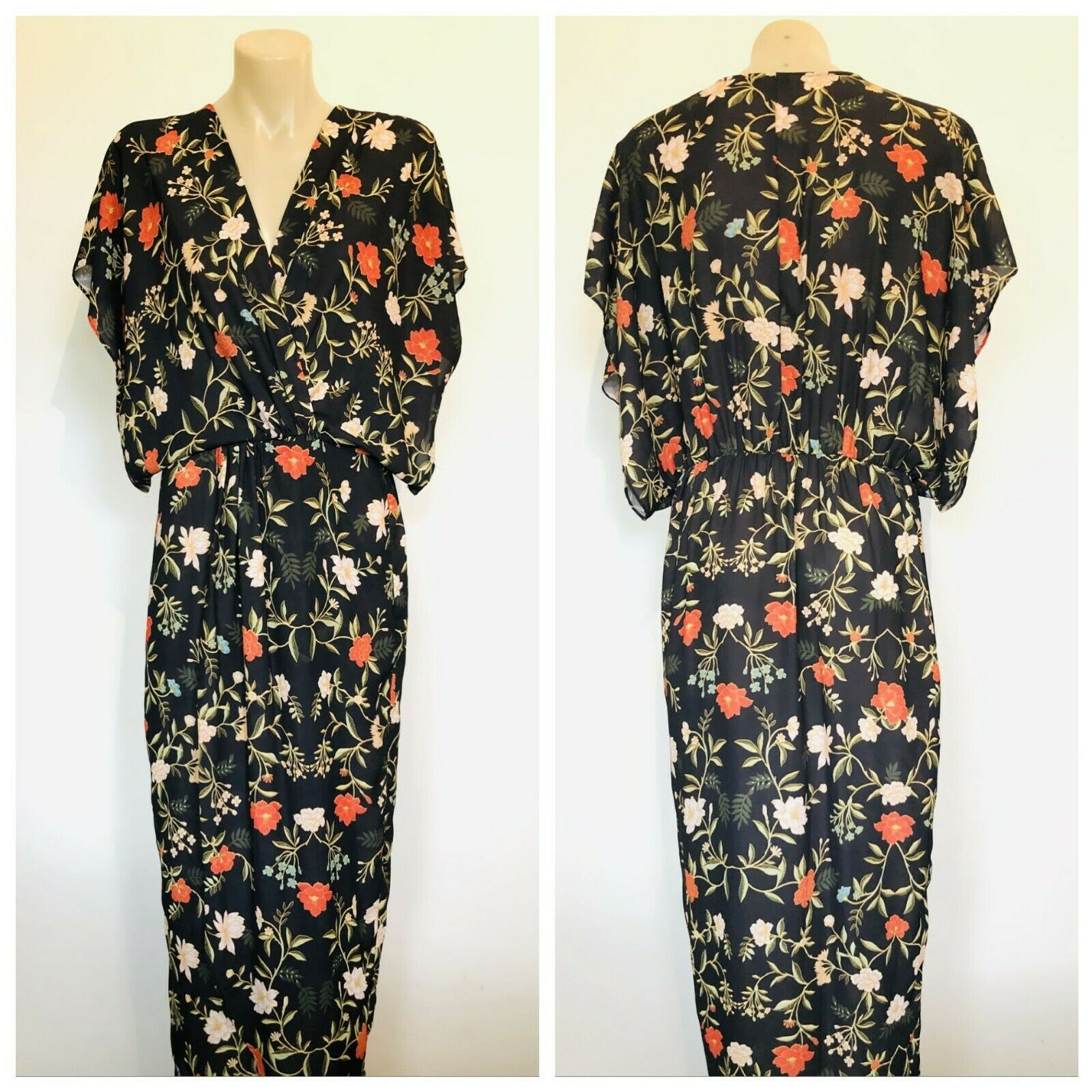 SHEIKE Women Long Black Floral Dress Short Sleeve Size 8 (S)