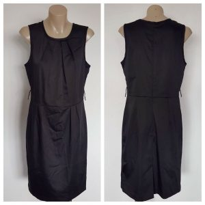 LAURA ASHLEY Black Sleeveless Dress With Sequin & Lace Lining Detail Size 10