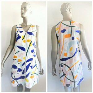 GORMAN Women's White Multicolour All Over Print Sleeveless Dress Size 8